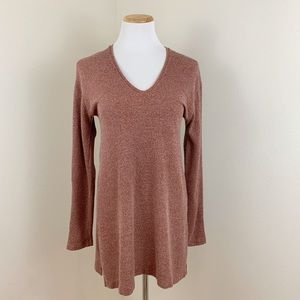 Zara Burnt Orange Knit V-Neck Tunic Sweater